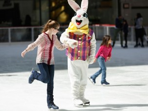 The Easter Bunny Skates On The Rink At Rock Center